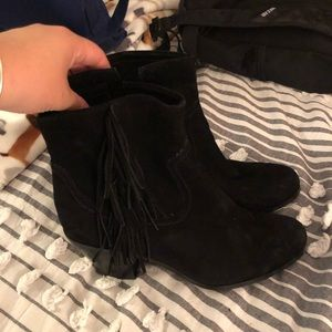 Black Fringe Heeled Booties